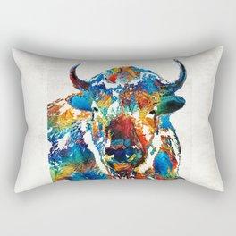 Colorful Buffalo Art - Sacred - By Sharon Cummings Rectangular Pillow