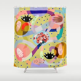 abstract evil eye , female hands, dots, love, flowers Shower Curtain