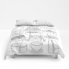 Sunday Dim Sum - Line Art Comforters