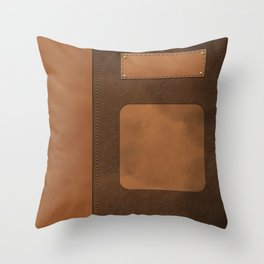 "A series of ""Covers for notebooks"" . Brown leather. Throw Pillow"