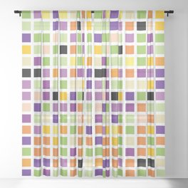 City Blocks - Eggplant #490 Sheer Curtain