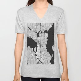 Seattle Map Gray Unisex V-Neck
