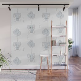 Elephants with Balloons Wall Mural