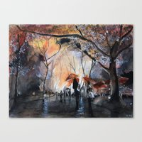 rain Canvas Prints featuring Autumn rain - watercolor by Nicolas Jolly