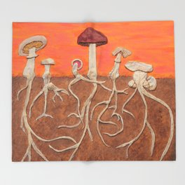 Laughing Shrooms Throw Blanket