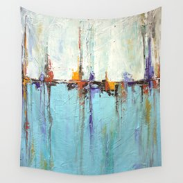 "Abstract White and Blue Painting – Textured Art – ""Sailing""  Wall Tapestry"