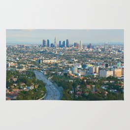 Los Angeles Skyline and Los Angeles Basin Panorama Rug