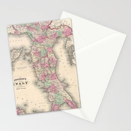 Vintage Map of Italy (1864) Stationery Cards