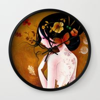 copper Wall Clocks featuring Copper by Sybile Art