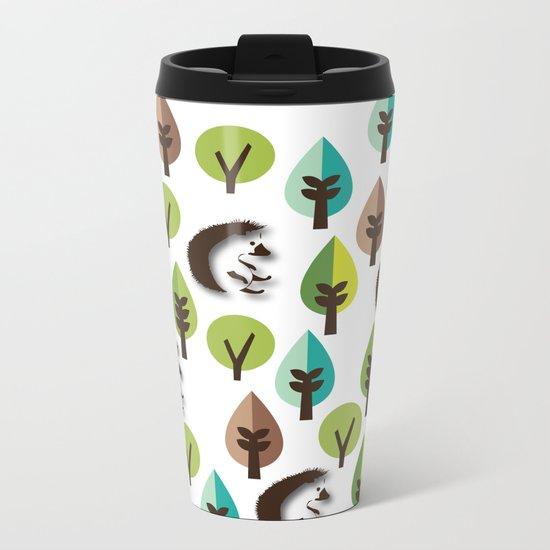 Hedgehog Forest Metal Travel Mug