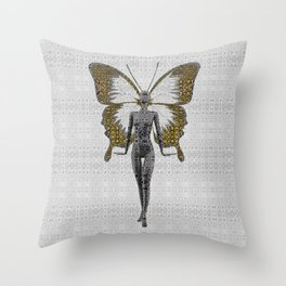 Portrait of a Fashion Fairy Throw Pillow
