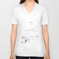 lipstick V-neck T-shirts featuring LipStick by PileOfTears (Lorelei Ramirez)