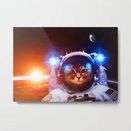 Funny Cat Astronaut #1 Metal Print