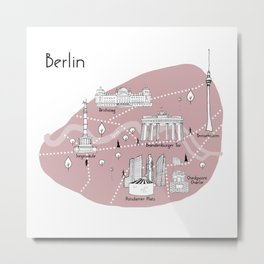 Mapping Berlin - Pink Metal Print