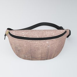 Modern faux rose gold glitter ombre brown rustic wood color block Fanny Pack