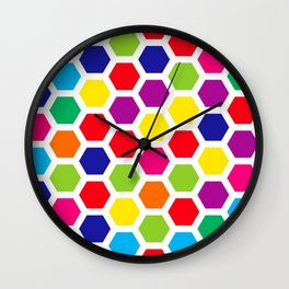 Color Honeycombs Wall Clock