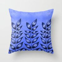 Blue Plant With Pointy Leaves Throw Pillow