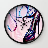 shoes Wall Clocks featuring Shoes by Digital-Art