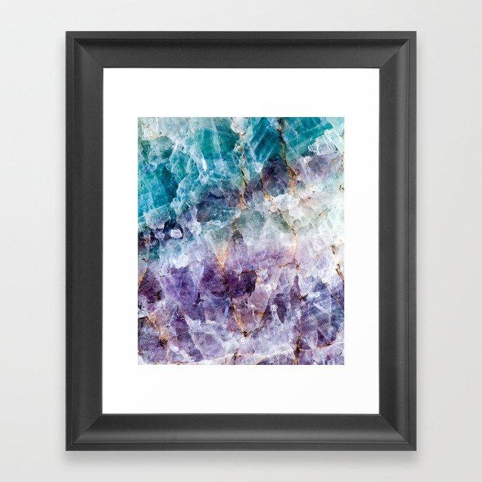 Turquoise & Purple Quartz Crystal Gerahmter Kunstdruck