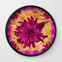 Stylized  Burgundy Purple & Yellow Chrysanthemums Floral Garden Wall Clock