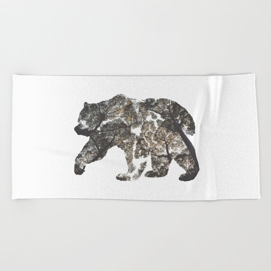 Bear Silhouette With Trees Beach Towel