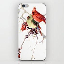 Cardinal Birds, birds art, two bird artwork cardinal bird iPhone Skin