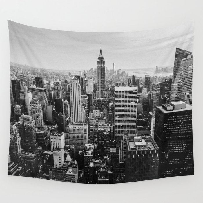 Black u0026 White NYC Skyline Wall Tapestry