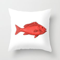 Australasian Snapper Swimming Drawing Throw Pillow