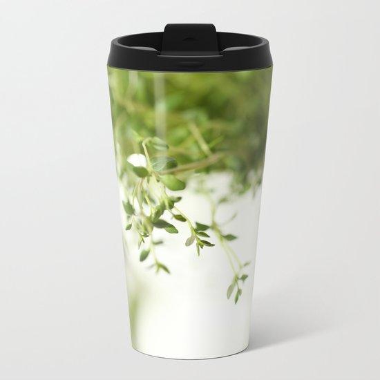 Fresh Herb In A White Pot Metal Travel Mug