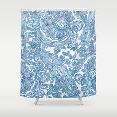 Blue Boho Paisley Pattern II Shower Curtain