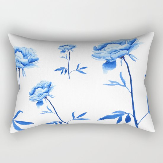 one blue peony painting Rectangular Pillow