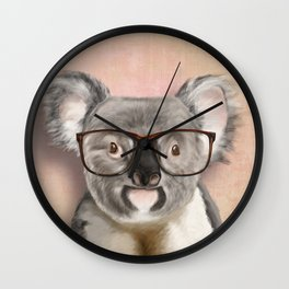 Funny koala with glasses Wall Clock