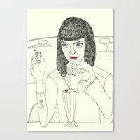 mia wallace Canvas Prints featuring Mia Wallace by Elena Éper