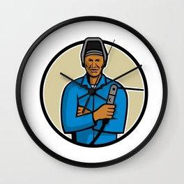 African American Welder Mascot Wall Clock