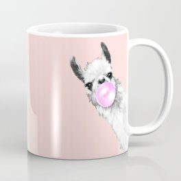 Bubble Gum Black and White Sneaky Llama in Pink Coffee Mug