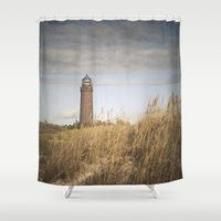 lighthouse Shower Curtains featuring Lighthouse  by Maria Heyens