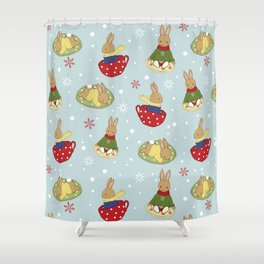 Tea Time in the Snow Shower Curtain