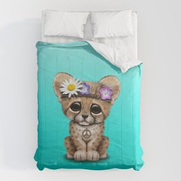 Cute Baby Cheetah Hippie Comforters