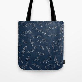 Berry Branches Pattern in Blue and Pink Tote Bag