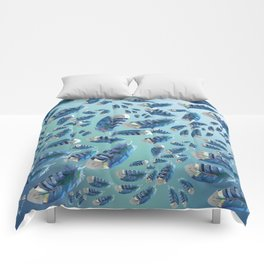 """""""Blue feathers flying in the air"""" Comforters"""