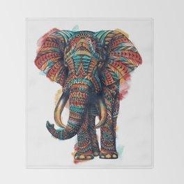 Ornate Elephant (Watercolor) Throw Blanket
