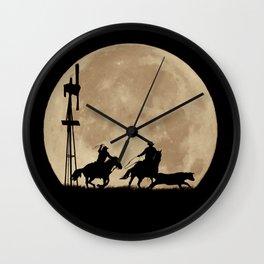 Rustler's Moon, Cowboys Roping Country Western Moon and Windmill Wall Clock