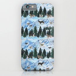 Dogs Skiing - Mountain Resort Scene with Bernese Mountain Dogs, Golden Retrievers, and Malamutes iPhone Case