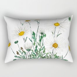 white Margaret daisy watercolor Rectangular Pillow