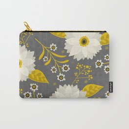 Cream and Grey Floral Collage Carry-All Pouch