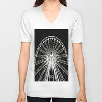 ferris wheel V-neck T-shirts featuring Ferris Wheel by Mack & Mack