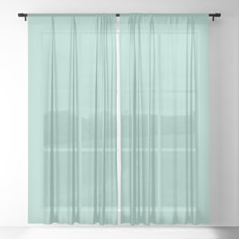 Pastel Aquamarine Blue Green Solid Color Parable to Simple Seafoam 5008-7C by Valspar Sheer Curtain