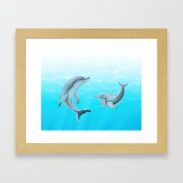 Dolphins Swimming in the Ocean Framed Art Print