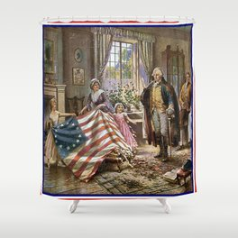 Edward percy moran : the birth of old glory Or Betsy Ross and Washington Shower Curtain