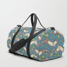 Swimming Otters Pastel Tones Duffle Bag
